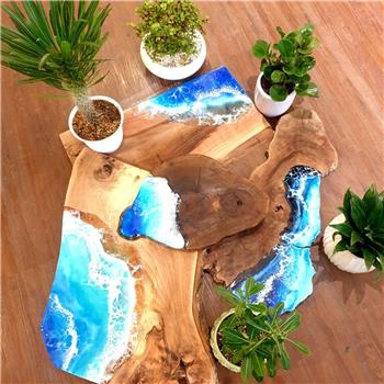 Wooden slabs with ocean waves