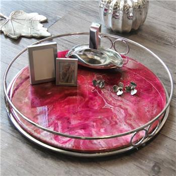 Red Marble Resin Tray