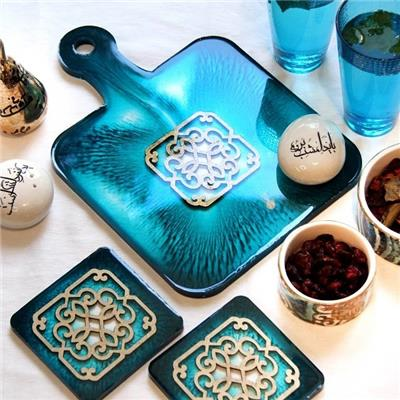 Blue Resin Board with Coasters